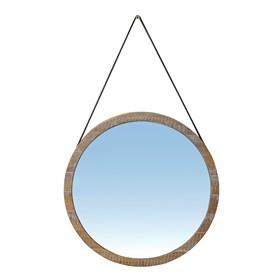 Espelho Bradenton em Madeira Maciça e Couro 65cm