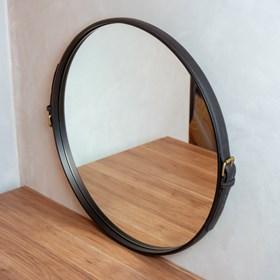 Espelho de Parede Barrichelle em Couro - Preto 60cm
