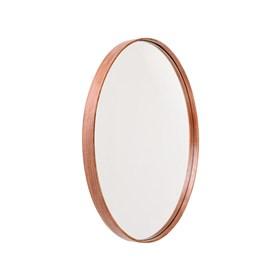 Espelho de Parede Redondo Olímpico em MDF com Lâmina em Madeira