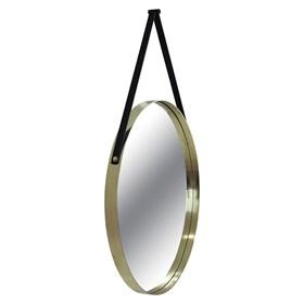 Espelho Miriane Green 60cm em Aço Carbono C/Alça em Couro