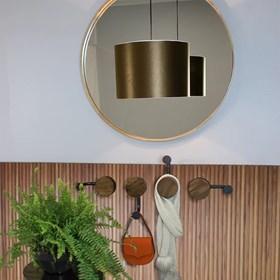 Espelho Olímpico Cinamomo 60cm em MDF com Lâmina em Madeira