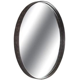 Espelho Redondo Blond Castanho em Aço Carbono e Borda de Couro Reconstituído