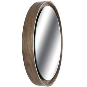 Espelho Redondo Shape Nogueira Revestido em Lâmina de Madeira