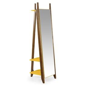 Estante C/Espelho Nasur em Madeira Maciça - Amarelo