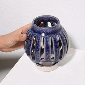 Lanterna Zaura em Cerâmica - Azul Escuro