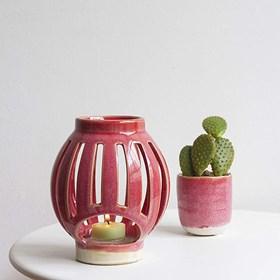 Lanterna Zaura em Cerâmica - Rosa