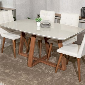 Mesa Bennett 180cm Com Vidro Natural Off White