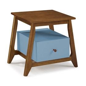 Mesa de Cabeceira Nasur em Madeira Maciça C/1 Gaveta - Azul Celeste