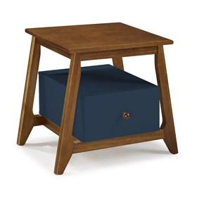 Mesa de Cabeceira Nasur em Madeira Maciça C/1 Gaveta - Azul Marinho