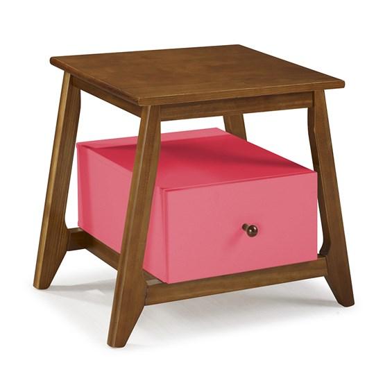 Mesa de Cabeceira Nasur em Madeira Maciça C/1 Gaveta - Pink