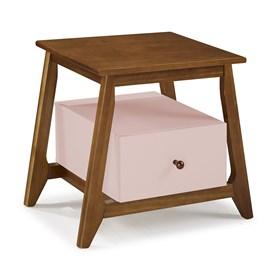 Mesa de Cabeceira Nasur em Madeira Maciça C/1 Gaveta - Rosa Claro