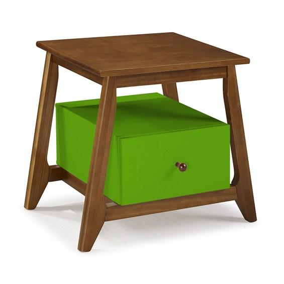 Mesa de Cabeceira Nasur em Madeira Maciça C/1 Gaveta - Verde