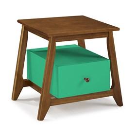 Mesa de Cabeceira Nasur em Madeira Maciça C/1 Gaveta - Verde Anis
