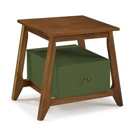 Mesa de Cabeceira Nasur em Madeira Maciça C/1 Gaveta - Verde Musgo