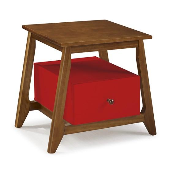 Mesa de Cabeceira Nasur em Madeira Maciça C/1 Gaveta - Vermelho