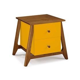 Mesa de Cabeceira Nasur em Madeira Maciça C/2 Gavetas - Amarelo