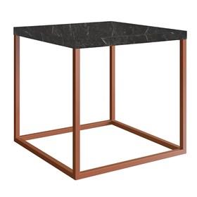 Mesa de Centro Eliza em Aço Carbono - Marquina 38cm