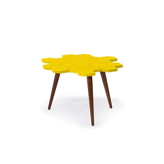 Mesa de Centro Hive em Madeira Maciça - Amarelo
