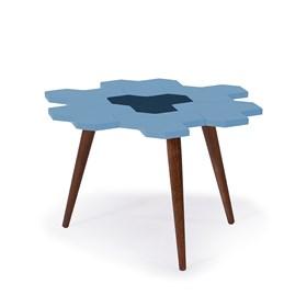 Mesa de Centro Hive em Madeira Maciça - Azul Celeste/Azul