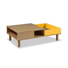 Mesa de Centro Rebic em Madeira Maciça - Amarelo