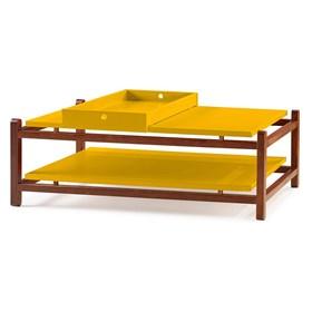 Mesa de Centro Trio em Madeira Maciça - Amarelo