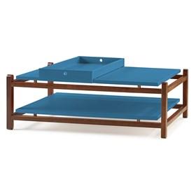 Mesa de Centro Trio em Madeira Maciça - Azul
