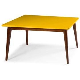 Mesa de Jantar Dallet em Madeira Maciça - Amarelo