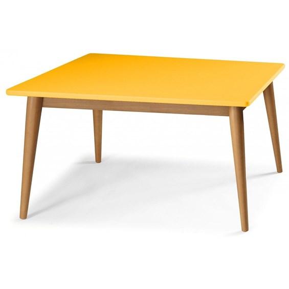 Mesa de Jantar Dallet em Madeira Maciça Tauari - Amarelo