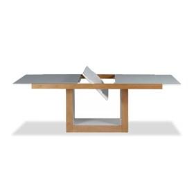 Mesa de Jantar Elástica Bereta em Madeira Maciça C/Tampo de Vidro