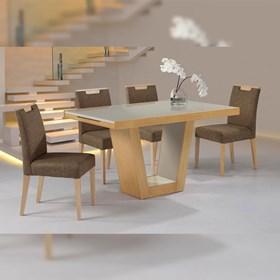 Mesa de Jantar Elástica Ticiana em Madeira Maciça C/Vidro