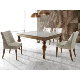 Mesa de Jantar Engadine Quadrada em Madeira Maciça C/ Vidro