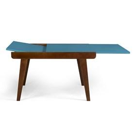 Mesa de Jantar Extensível Rima em Madeira Maciça - Azul Ágata