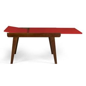 Mesa de Jantar Extensível Rima em Madeira Maciça - Vermelho