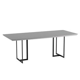 Mesa de Jantar Iron C/ Tampo de Vidro 219cm - Off-white