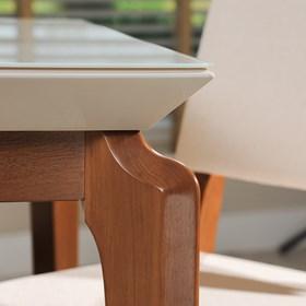Mesa de Jantar Lauren Off-white 2.1 com Vidro 4mm