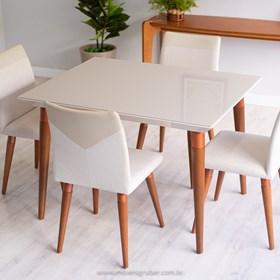 Mesa de Jantar Liv com Vidro 115 cm - Off-white