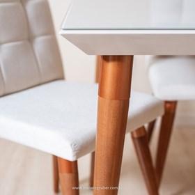 Mesa de Jantar Liv Off-white 1.6cm em Madeira e Vidro - Linha Nord