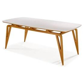 Mesa de Jantar Logan C/Vidro Off-White - 160cm
