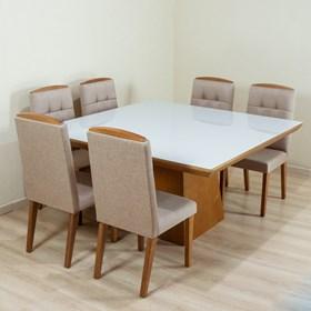 Mesa de Jantar Lopez C/Vidro em Madeira Maciça