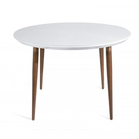 Mesa de Jantar Louise C/Vidro Branco Gloss 115cm
