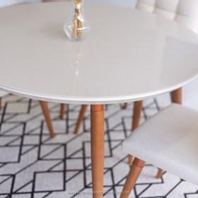 Mesa de Jantar Louise C/Vidro Off-White 115cm