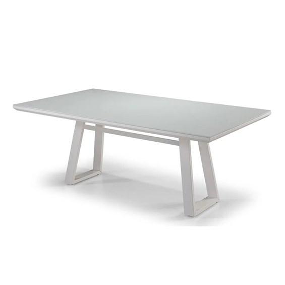 Mesa de Jantar Montreal Branco 160cm C/Vidro em Madeira Maciça
