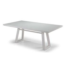 Mesa de Jantar Montreal Branco 180cm C/Vidro em Madeira Maciça