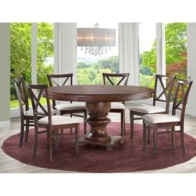 Mesa de Jantar Rubin Redonda de Madeira Maciça - Canela