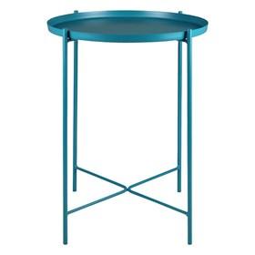 Mesa Lateral Ammy em Aço Carbono - Azul Turquesa