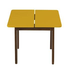 Mesa Lateral Leman em Madeira Maciça - Cacau/Amarelo