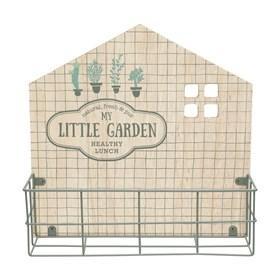 Mini Prateleira Nuren em Madeira e Metal Vintage Garden - Bege/Preto