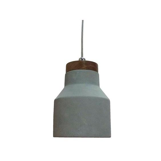 Pendente Concrewood 17cm de Concreto e Madeira Moderno