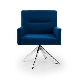 Poltrona Baldwin em Veludo C/Base Giratória Cromada - Azul Forte