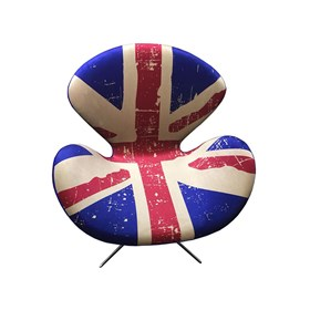 Poltrona Estofada Swan Estampada Inglaterra